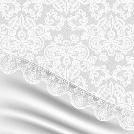 vintage lace: Wedding background with white silk and lace