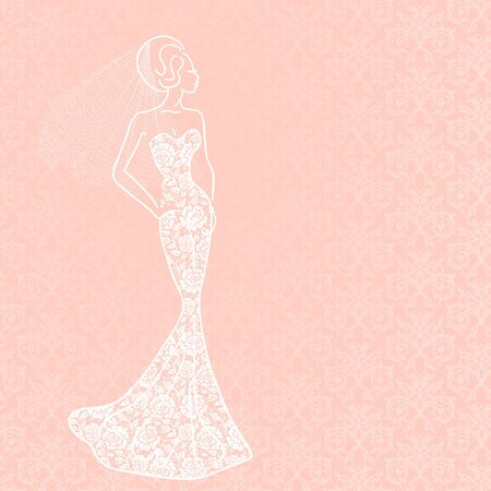 veil: Fashion illustration of bride with veil in lace dress Illustration