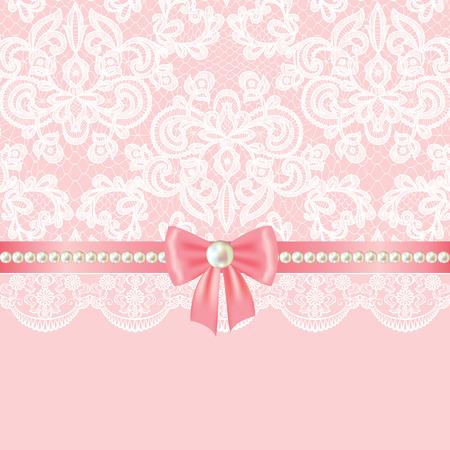 encaje: Invitaci�n de la boda o tarjeta de felicitaci�n con la frontera de la perla en el fondo del cord�n Vectores