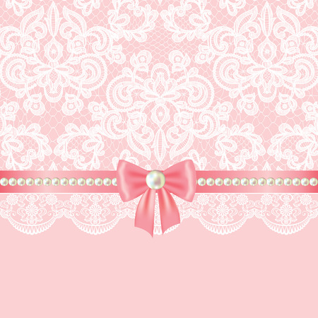 pink ribbons: Wedding invitation or greeting card with pearl border on lace background