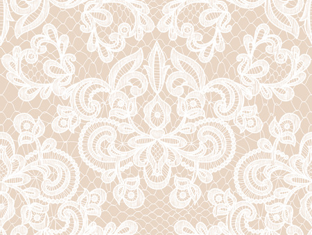 Seamless white lace background with floral pattern