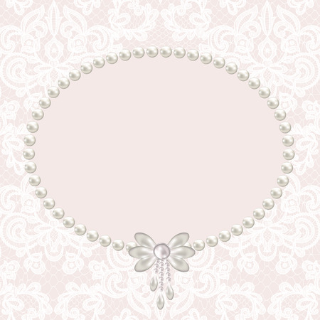 pearl: Wedding invitation or greeting card with pearl frame on lace background Illustration
