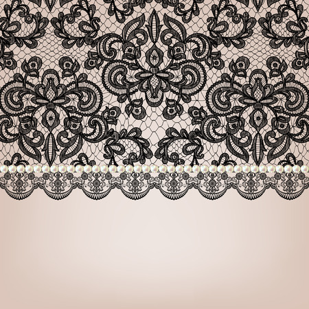 vintage lace: Wedding invitation or greeting card with black lace and pearl necklace Illustration