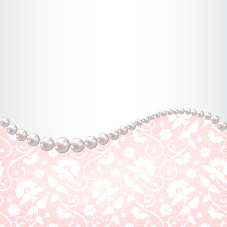 pearl necklace: Wedding invitation or greeting card with pearl necklace on lace background