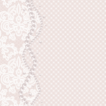 wedding background: Wedding invitation or greeting card with pearl necklace on lace background
