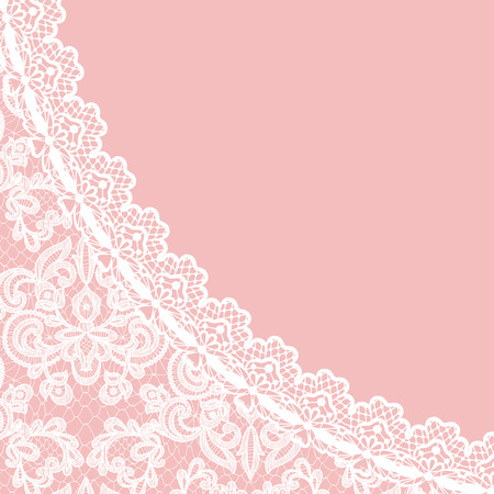 Wedding invitation or greeting card with lace border on pink background Vectores