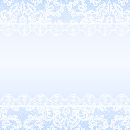 wedding background: Wedding invitation or greeting card with lace border on blue background