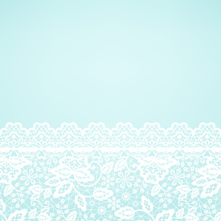 Wedding invitation or greeting card with lace border on green background