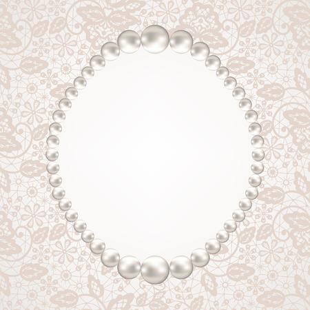 wedding frame wedding invitation or greeting card with pearl frame on lace background illustration