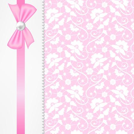 moño rosa: Invitación de la boda o tarjeta de felicitación con arco rosado en el fondo de encaje