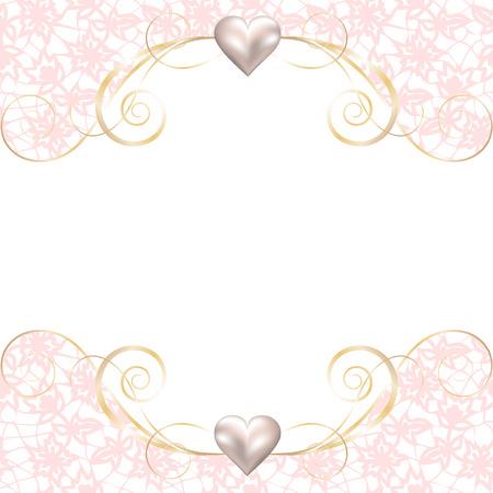 Bruiloft uitnodiging of wenskaart met roze kanten rand