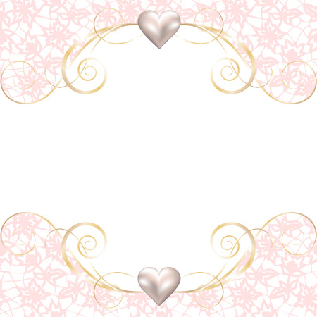 Wedding invitation or greeting card with pink lace border Illustration