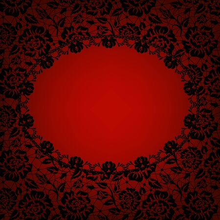red and black: Wedding invitation or greeting card with lace frame on red  background