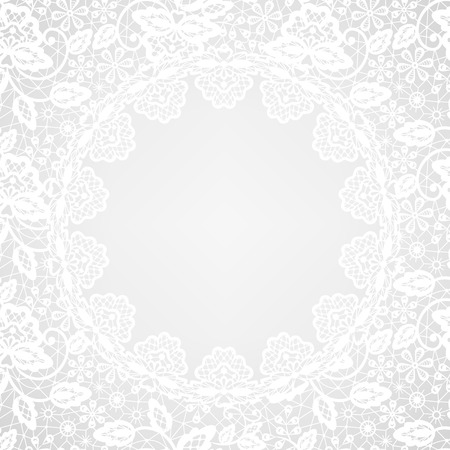 grey pattern: Wedding invitation or greeting card with lace frame on gray background Illustration