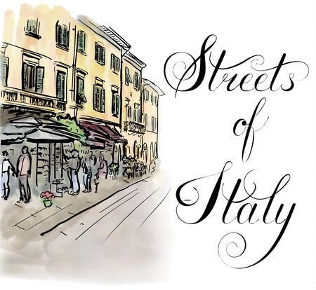 italy street: Artistic watercolor sketch of street in Italy