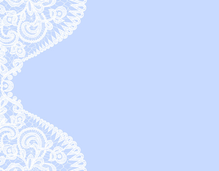 baby blue: Wedding invitation or greeting card with lace border on blue background