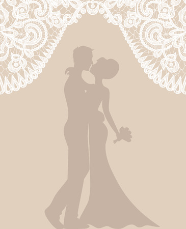 wedding bride: Wedding invitation or greeting card with groom and bride on beige background