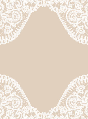 Wedding invitation or greeting card with lace border on beige background