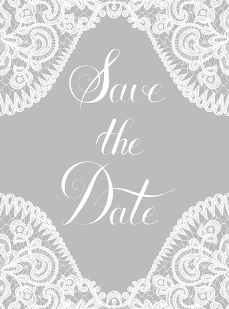 Save the Date card with lace border on gray background