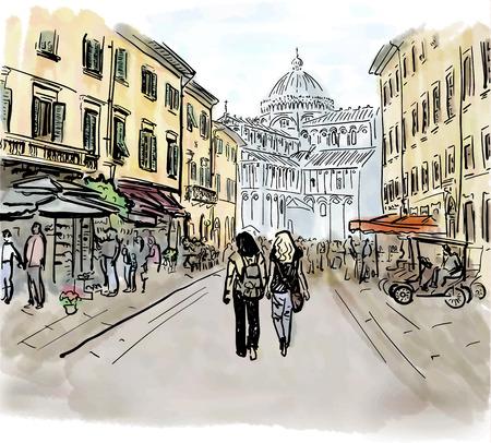 traveller: Artistic watercolor sketch of street in Pisa, Italy