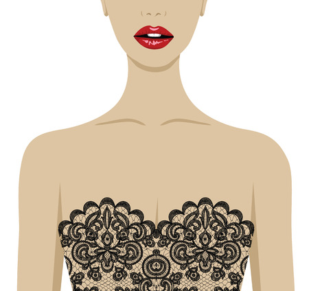 young girl underwear: Fashion illustration of sexy woman in lace underwear