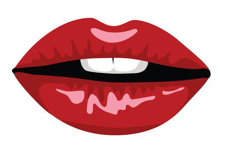 lip stick: Cartoon red woman lips isolated on white