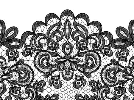 ruban noir: Wedding invitation ou carte de voeux avec bordure en dentelle isolé sur fond blanc