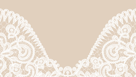 Wedding invitation or greeting card with lace border on beige background 版權商用圖片 - 42710144