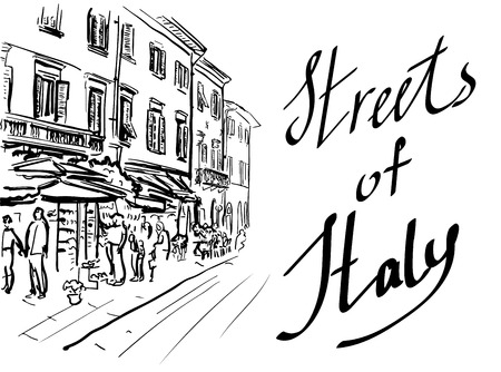 european: Artistic hand-drawn sketch of street in Italy