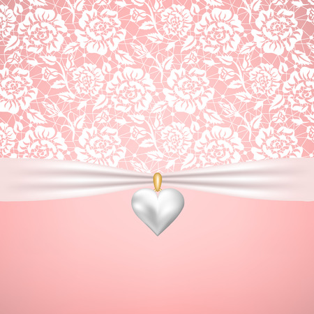 pearl: Template for invitation or greetings card for wedding or St.Valentines day