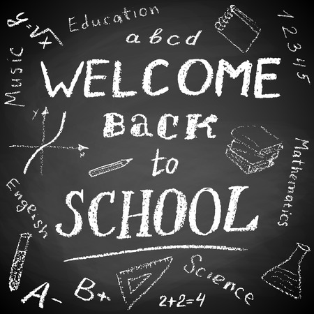 school board: Black board with text Welcome Back to School