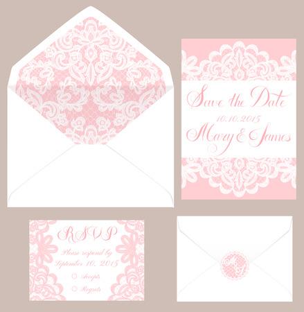 esküvő: Sablonjai borítékot és a kártyák esküvői Illusztráció