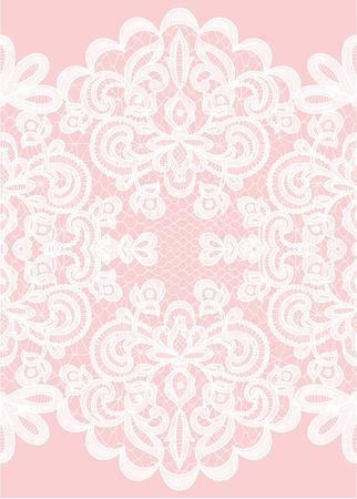 Bruiloft uitnodiging of wenskaart met kant frame op roze achtergrond
