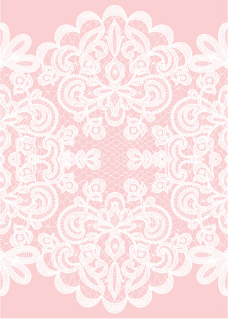 Wedding invitation or greeting card with lace frame on pink background