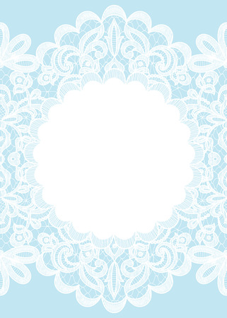 blue border: Wedding invitation or greeting card with lace frame on blue background