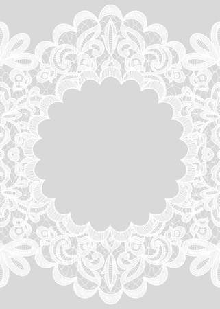 Wedding invitation or greeting card with lace frame on gray background Vectores
