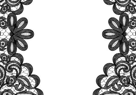Hochzeits-Einladung oder Grusskarte mit schwarzer Spitze Grenze auf weißem Hintergrund Standard-Bild - 43772578