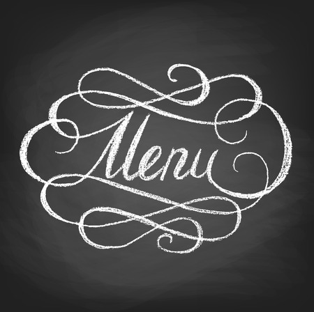 Word Menu handwritten by chalk on black board Иллюстрация