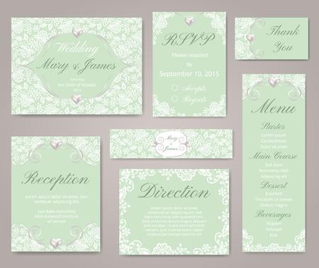 perlas: Tarjetas de invitación de boda con adornos de encaje y perlas