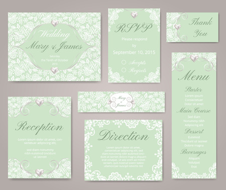 art border: Wedding invitation cards with lace decorations and pearl