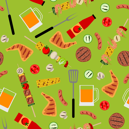 Seamless background with barbecue food. BBQ party