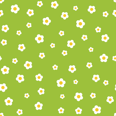 camomile flower: Camomile flower seamless pattern on green background Illustration