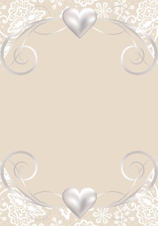 Hintergrund Mit Schmuck-Rahmen Für Hochzeit Oder Valentinsgrußkarte ...