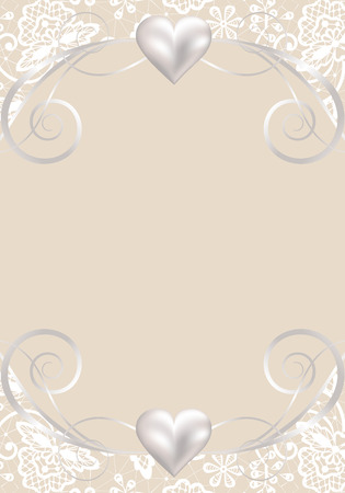 vintage lace: Wedding template of invitation or greeting card