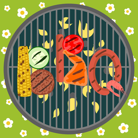 grill: Background with grill and barbecue food. BBQ party