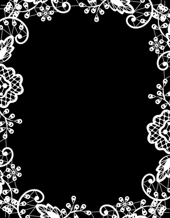 flower border: Wedding invitation or greeting card with white lace on black background Illustration