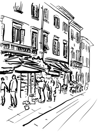 italy street: Artistic hand-drawn sketch of street in Italy