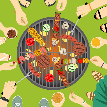 grill meat: People grill sausage, meat and vegetables together. Barbecue party