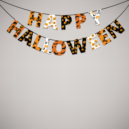Halloween orange and black banner with greetings Happy Halloween Illustration