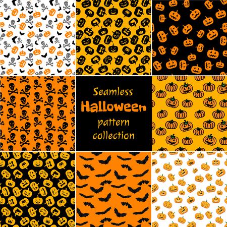 Halloween seamless pattern set with pumpkins, bats and skull